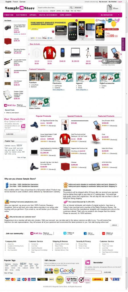 Magento外贸模板:lightinthebox高端版,带Ajax购物车,五色可选