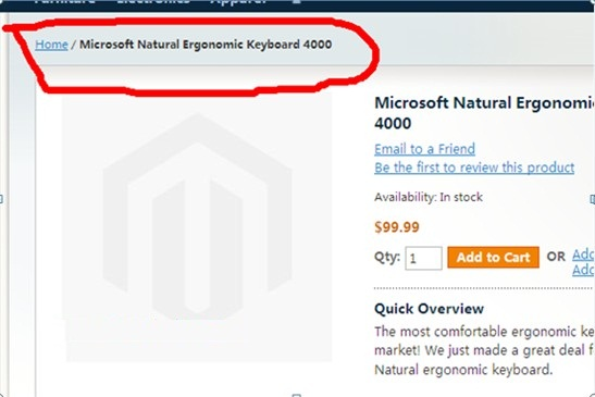 Magento产品页面包屑导航(Breadcrumb)修改