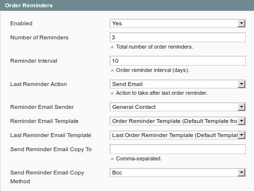 Inchoo OrderReminder Options