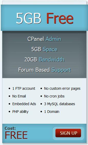 5GBFree提供5GB免费空间,支持PHP,MySQL,Cpanel