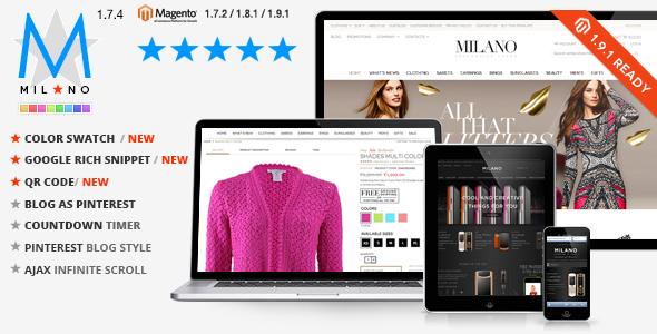 一款米兰风格Magento主题带博客拓展